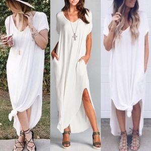 White maxi oversized boho dress